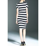 cheap Stylish Round Neck Short Sleeve Striped Packet Buttock Women's Dress