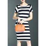 Stylish Round Neck Short Sleeve Striped Packet Buttock Women's Dress for sale