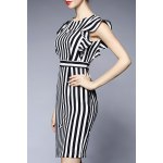 Round Collar Striped Flounced Bodycon Dress for sale