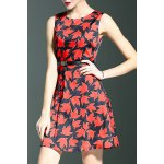 Stylish Round Neck Sleeveless Belted Maple Leaf Print Women's Dress for sale