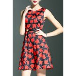 Stylish Round Neck Sleeveless Belted Maple Leaf Print Women's Dress deal