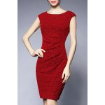 Jacquard Sheath Sleeveless Dress