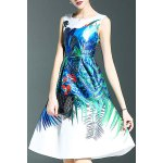 Stylish Round Neck Sleeveless Sweet Printed Women's Dress for sale
