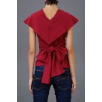 cheap Self Tied Cape Blouse