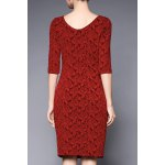 cheap Boat Neck Rose Jacquard Bodycon Dress