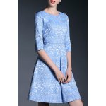 Round Collar Jacquard A Line Dress