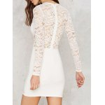 Stylish Round Neck Long Sleeve White Lace Spliced Women's Dress deal