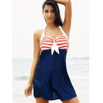 Buy Halter Sailor Swimdress Stripe Tankini Top Bathing Suit 2XL RED AND WHITE BLUE