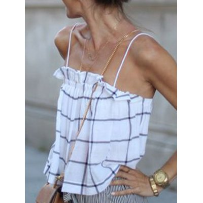 Refreshing Spaghetti Strap Ruffled Plaid Tank Top For WomenWomens Clothing<br>Refreshing Spaghetti Strap Ruffled Plaid Tank Top For Women<br><br>Material: Polyester<br>Fabric Type: Chiffon<br>Clothing Length: Regular<br>Pattern Type: Solid<br>Style: Casual<br>Weight: 0.110kg<br>Package Contents: 1 x Tank Top