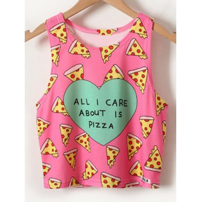 Chic Women's Pizza Print Tank Top
