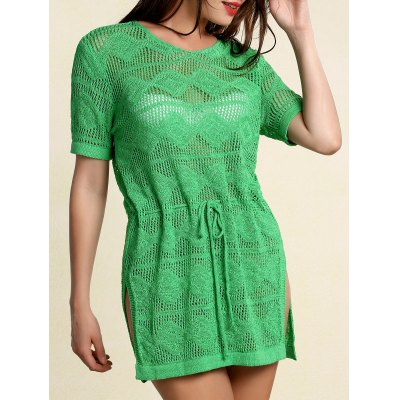 Scoop Neck Short Sleeve Openwork Drawstring Sweater For Women