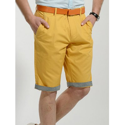 Casual Slimming Straight Leg Solid Color Zipper Fly Shorts For Men