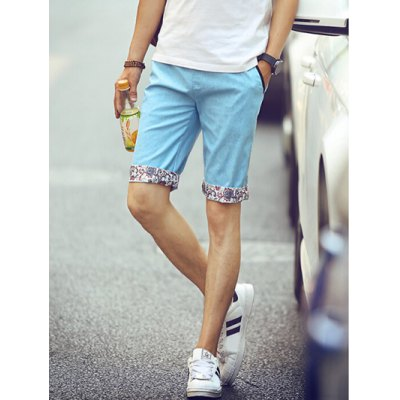 Casual Straight Leg Floral Crimping Lace-Up Shorts For Men