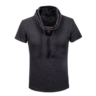 Fashion Heaps Collar Single-Breasted Solid Color Short Sleeves Sweatshirt For Men