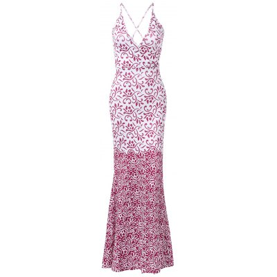 Plunging Neck Low-Cut Spaghetti Strap Cross Back Floral Print Dress For Women