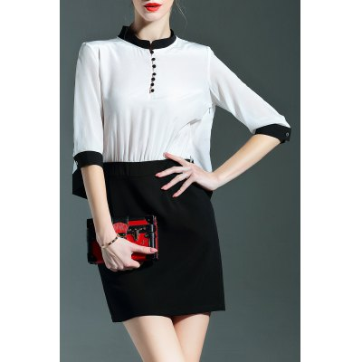 Stand Collar Buttoned Color Block Dress