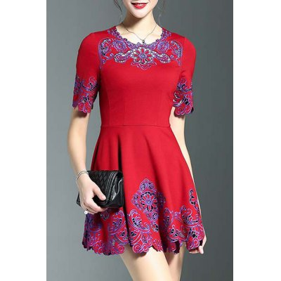 Stylish Round Neck Half Sleeve Fitting Embroidery Women's Dress