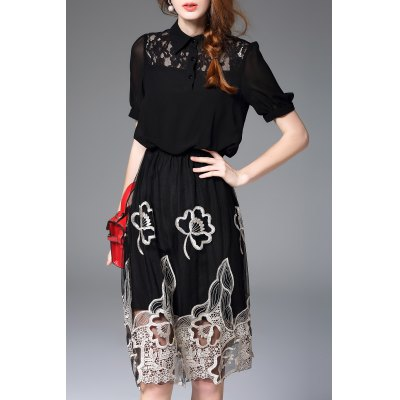 Hollow Out Embroidery Dress