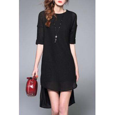Butterfly Patched Design Asymmetric Dress