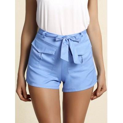 BeltedBlue Straight Leg Shorts For Women