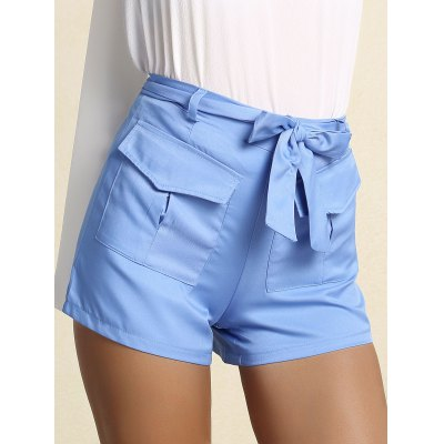 Trendy Belted Blue Straight Leg Shorts For WomenShorts<br>Trendy Belted Blue Straight Leg Shorts For Women<br><br>Style: Fashion<br>Length: Mini<br>Material: Cotton,Polyester<br>Fit Type: Regular<br>Waist Type: Mid<br>Closure Type: Zipper Fly<br>Front Style: Flat<br>Pattern Type: Solid<br>With Belt: Yes<br>Weight: 0.370kg<br>Package Contents: 1 x Shorts  1 x Belt