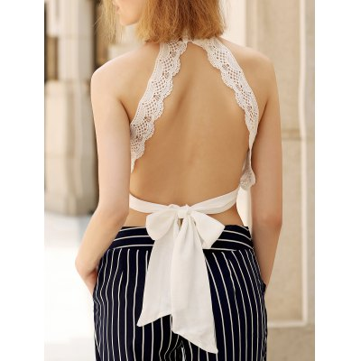 Plunging Sleeveless Lace Crop Top For Women