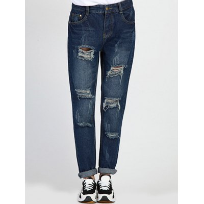 Hole Design Loose-Fitting Women's Jeans
