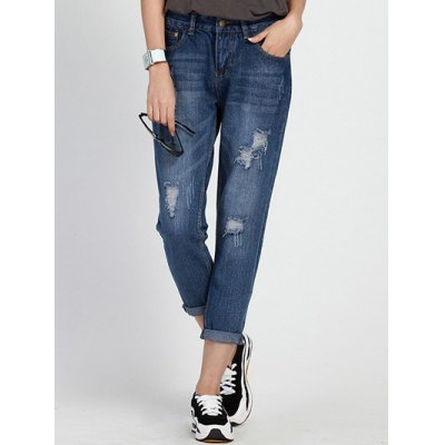Mid Waist Hole Design Ripped Women's Capri Jeans