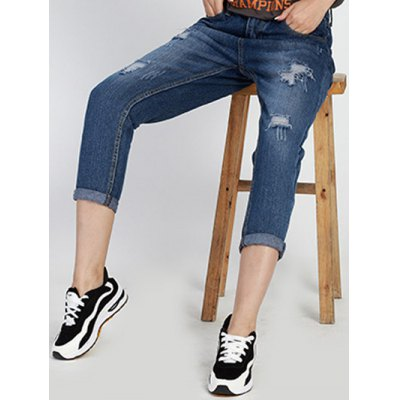 Chic Mid Waist Hole Design Ripped Women's Capri Jeans от GearBest.com INT