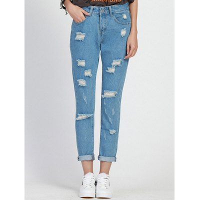Hole Design Loose-Fitting Women's Ninth Jeans