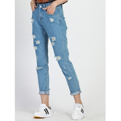 Chic Hole Design Loose-Fitting Women's Ninth Jeans