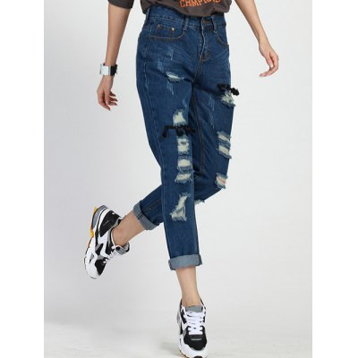 Fashionable Hole Design Loose-Fitting Women's Jeans