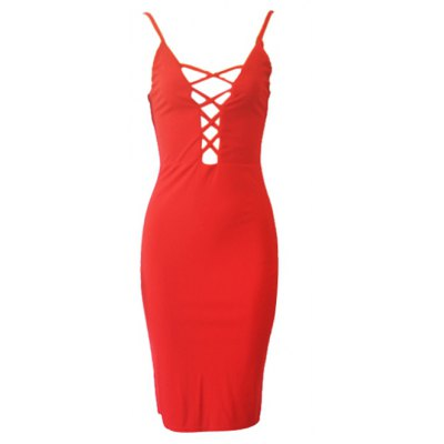 Alluring Spaghetti Strap Hollow Out Women's Dress