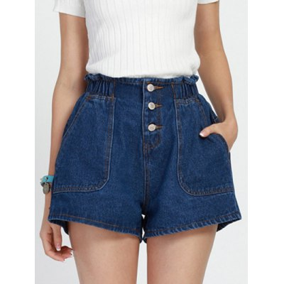 Stylish Elastic Waist Buttoned Wide Leg Blue Shorts for Women