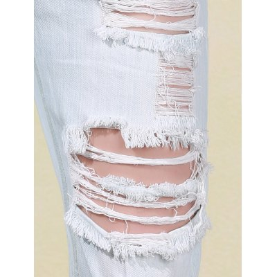 Trendy Bleach Wash Frayed Ripped Jeans For Women от GearBest.com INT