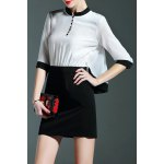 Stand Collar Color Block Buttoned Dress deal