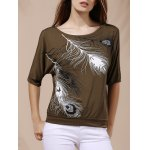 Stylish Scoop Neck Short Sleeves Cold Shoulder Printed T-Shirt For Women