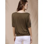 Stylish Scoop Neck Short Sleeves Cold Shoulder Printed T-Shirt For Women deal