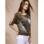 cheap Stylish Scoop Neck Short Sleeves Cold Shoulder Printed T-Shirt For Women