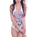 cheap Fashionable Halter Printed Voile Spliced Backless Women's Swimwear