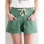 Chic Women's Pure Color Pocket Deign Drawstring Shorts