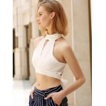Alluring Plunging Sleeveless Lace Crop Top For Women for sale
