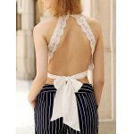 Alluring Plunging Sleeveless Lace Crop Top For Women