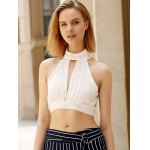 cheap Alluring Plunging Sleeveless Lace Crop Top For Women