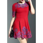Stylish Round Neck Half Sleeve Fitting Embroidery Women's Dress deal