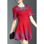 Stylish Round Neck Half Sleeve Fitting Embroidery Women's Dress for sale