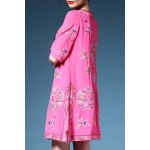 cheap Retro Embroidered Longline Blouse