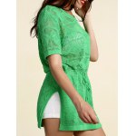 Stylish Scoop Neck Short Sleeve Openwork Drawstring Sweater For Women deal