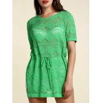 cheap Stylish Scoop Neck Short Sleeve Openwork Drawstring Sweater For Women