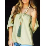cheap Stylish Off-The-Shoulder Half Sleeves Solid Color Blouse For Women